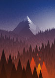 Snowy big mountain and forest fire. Abstract nature landscape. Mountain and forest fire. Disaster. Vector illustration. Elements are layered separately in Royalty Free Stock Photos