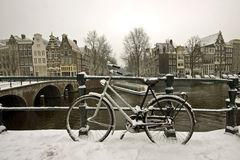 Snowy bike in Amsterdam the Netherlands Stock Image