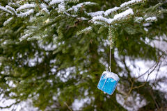 Snowy blue Christmas present fir-tree. Snowy wrapped blue Christmas present hanging on a fir-tree Stock Image