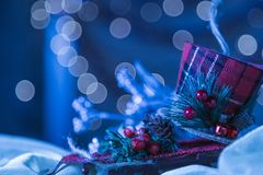 Snowy Blue Holiday Snow Sled Christmas Ornament Background. Sele. Ctive Focus With Copy Space Royalty Free Stock Images