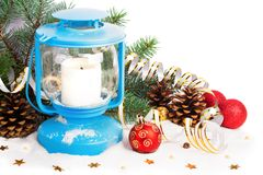 Snowy blue lantern and Christmas balls Stock Photo