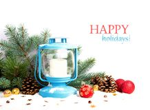 Snowy blue lantern and Christmas balls Royalty Free Stock Photography