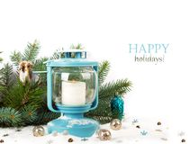 Snowy blue lantern and Christmas balls Stock Photos
