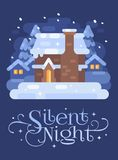 Snowy blue winter village landscape with a house. Silent Night Christmas flat illustration royalty free illustration
