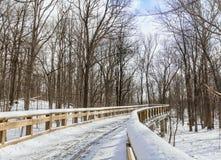 Snowy Boardwalk Trail Royalty Free Stock Photos
