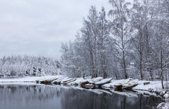 Snowy boat beach. Beautiful first snow day at boat beach Royalty Free Stock Photography