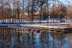 Snowy boat docks by the Baltic Sea in Helsinki Royalty Free Stock Photography