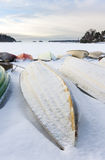 Snowy boat in harbor at winter Royalty Free Stock Photo