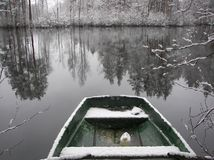 Snowy boat Stock Image