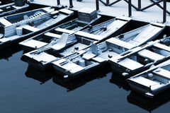 Snowy boats Royalty Free Stock Image