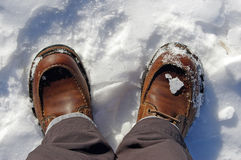 Snowy boots. Brown leather Boots in snow Royalty Free Stock Images