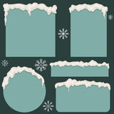 Snowy borders and snowflakes Royalty Free Stock Photo