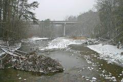 Snowy-Brücke Lizenzfreie Stockfotografie