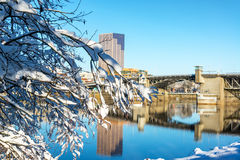 Snowy Branches and Downtown Portlad Royalty Free Stock Photography