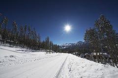 Snowy Breckenridge Road. Snowy Breckenridge Residential Road. Breckenridge, Colorado, United States. Winter Scenery royalty free stock images