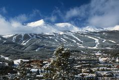 Snowy Breckenridge Sky. A winter view of Breckenridge Colorado and Skio Resort from a mountain opposite on a bright day with wispy clouds stock photography