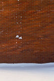 Snowy brick wall. In the winter royalty free stock photo