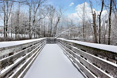 Snowy bridge. Bridge covered with snow during winter with a blue sky Stock Images