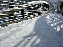 Snowy Bridge Stock Photo
