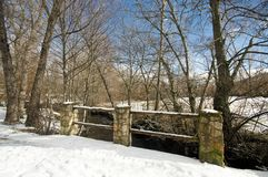 Snowy bridge at countryside Royalty Free Stock Images