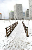 A snowy bridge. A snowy park in a city located at the north of Spain royalty free stock photos
