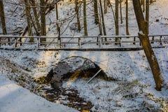 Snowy Bridge on Petrova Gora. A bridge and small stream on the snow covered hills around Petrova Gora in Karlovac County, central Croatia royalty free stock photography