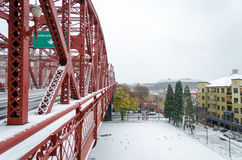 Snowy Broadway Bridge. Broadway Bridge covered by snow in Portland, Oregon stock photo