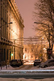 Snowy bucharest street Stock Images