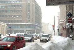 Snowy bucharest street Royalty Free Stock Image