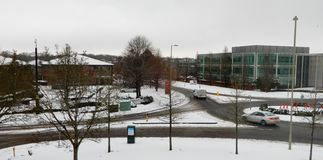 Snowy business park. Basingstoke, United Kingdom - February 01 2019: Snow covers the grounds in Chineham BUsiness park stock photos