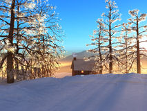 Snowy Cabin. A winter cabin offers warmth and comfort stock photography