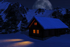 Snowy Cabin Stock Images
