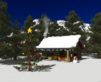 Snowy_cabin_day_02 Stock Images
