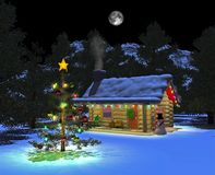 Snowy_cabin_night_02 Fotografie Stock Libere da Diritti