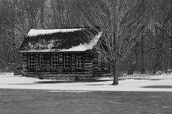 Snowy cabin Stock Photography