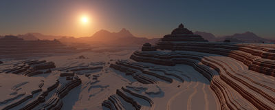 Snowy canyon at sunset. Stock Photo