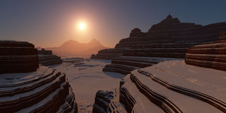 Snowy canyon at sunset. Stock Photography