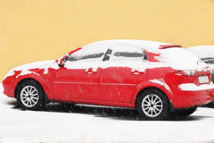 Snowy car Stock Photography