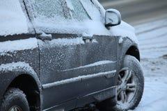 Snowy car Stock Photography