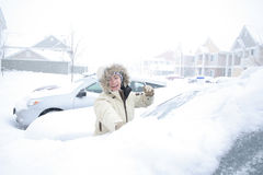 Snowy Car Royalty Free Stock Images
