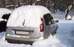 Snowy car - RAW format Stock Photos