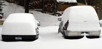 Snowy Cars Stock Image