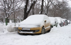 Snowy cars. Cars covered with snow in winter in Bucharest Stock Photo
