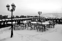 Snowy castle cafe Royalty Free Stock Photography