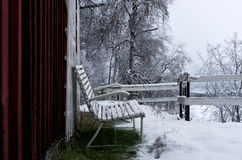 Snowy chairs Royalty Free Stock Image