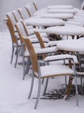 Snowy chairs tables winter Stock Photos