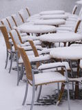 Snowy chairs tables winter Stock Photography