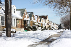 Snowy Chicago neighborhood Stock Photo