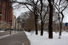 Snowy Chicago Street in Winter Stock Photo
