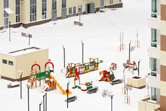 Snowy children playground Royalty Free Stock Photos